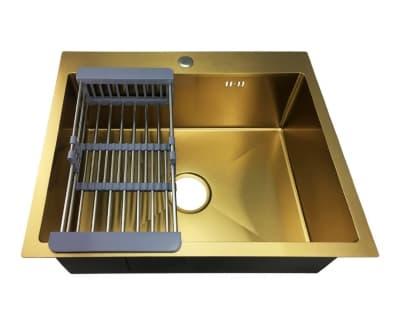 Мойка нержавеющая врезная 60х50 Золото FABIA Profi (3.0х200) выпуск 3 1/2 с сифоном, с коландером