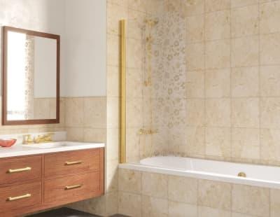 Душевая шторка на ванную Vegas-Glass EV Lux 0075 профиль золото стекло жасмин R
