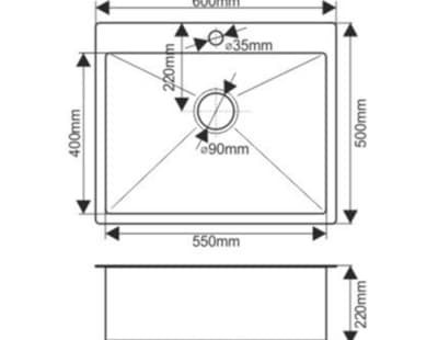 Мойка нержавеющая врезная 60х50 FABIA Profi (3.0х200) выпуск 3 1/2 с сифоном, с коландером