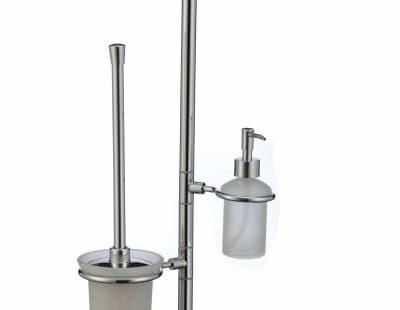 многофункциональная стойка Savol напольная черный квадрат стеклянный (газетница, дозатор, держатель освежителя, стеклянный подвесной ерш) S-00B02