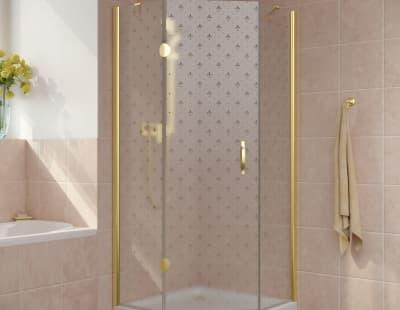 Душевой уголок Vegas-Glass AFA-Pen Lux 0100 профиль золото стекло флёр-де-лис R