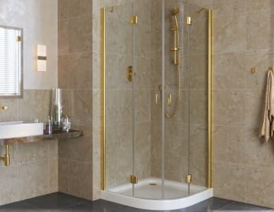 Душевой уголок Vegas-Glass AFS lux  0090 профиль золото стекло прозрачное