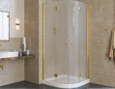 Душевой уголок Vegas-Glass AFS lux  0090 профиль золото стекло сатин