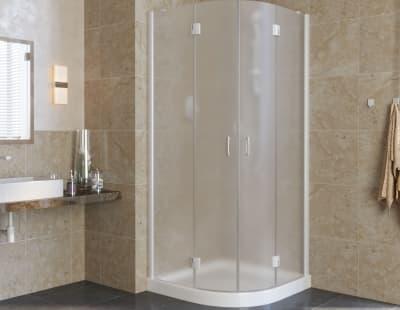Душевой уголок Vegas-Glass AFS lux  0090 профиль белый стекло сатин