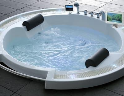 С гидромассажем акриловая ванна Gemy G9060 O 210 круглая 210x210