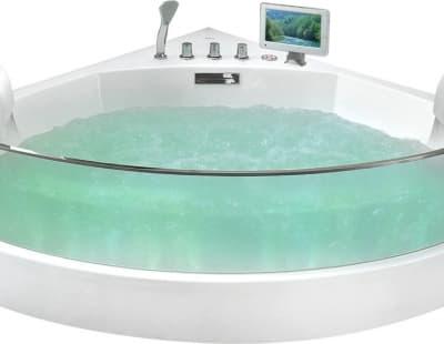 С гидромассажем акриловая ванна Gemy G9080 O 150 угловая 150x150