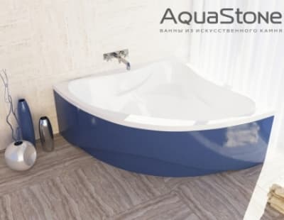 Ванна из литьевого мрамора Aquastone Флорида 135x135 синяя угловая 135