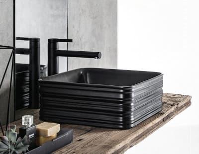 Черная матовая керамическая раковина Gid Bm965