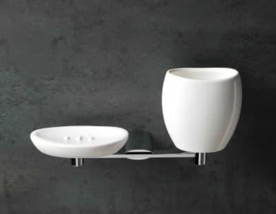 Stil Haus Aria, настенные керамические мыльница + стакан, цвет хром - белая керамика AR14(08-BI)
