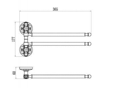Держатель для полотенец поворотный (2-ой) Savol S-005802A