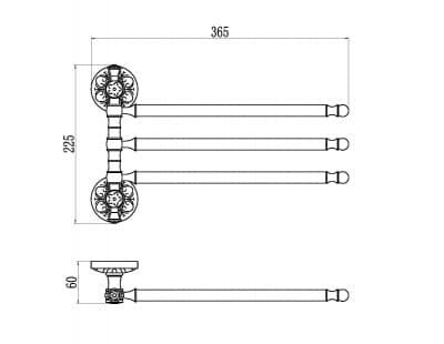 Держатель для полотенец поворотный (3-ой) Savol S-005803С