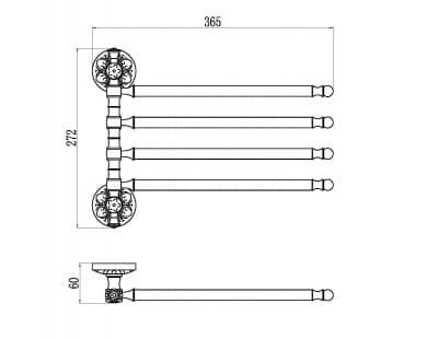 Держатель для полотенец поворотный (4-ой) Savol S-005804B