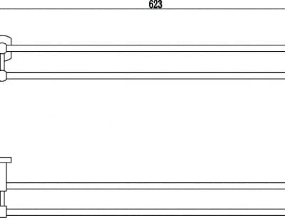 Держатель для полотенец прямой (2-ой) 60 см Savol S-009949