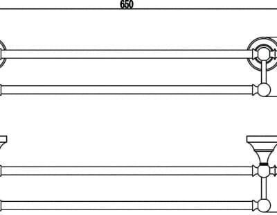 Держатель для полотенец прямой (2-ой) 60 см Savol S-06848A