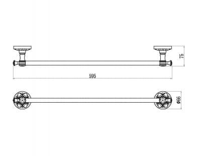 Держатель для полотенец прямой 60 см Savol S-005824B