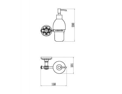 Дозатор для жидкого мыла с настенным держателем Savol S-005831A