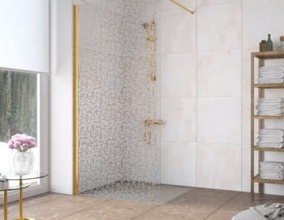 Душевая перегородка Vegas-Glass EAF Lux 96 профиль золото стекло фея