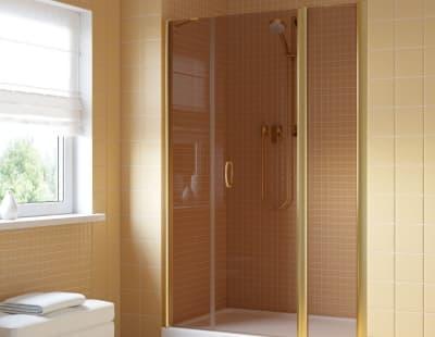 Душевая дверь Vegas-Glass EP-2F Lux 0195 профиль золото стекло бронза R