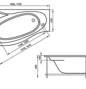 Акриловая ванна 1MarKa Gracia 160x95
