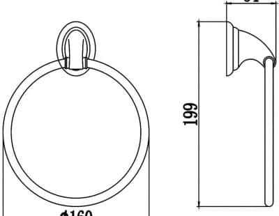 Полотенцедержатель кольцевой Savol S-003160