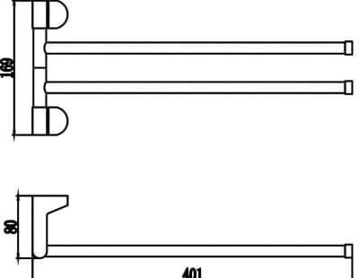 Полотенцедержатель поворотный двойной Savol S-007302