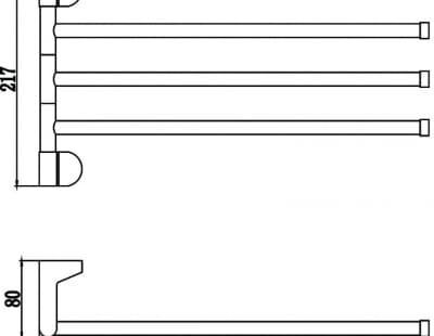 Полотенцедержатель поворотный тройной Savol S-007303