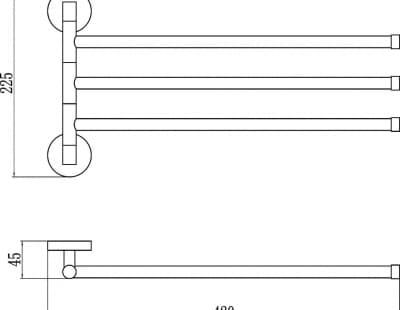 Полотенцедержатель поворотный тройной Savol S-008703