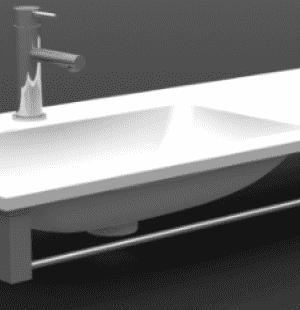 Полотенцедержатель фронтальный на раковину PLATINIUM 90см
