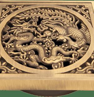 Бронзовые решетки Дракон к трапам Viega 100x100