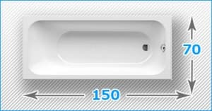 Акриловые ванны 150x70