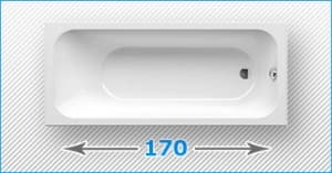 170 см прямоугольные акриловые ванны
