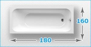 Акриловые ванны 180x160