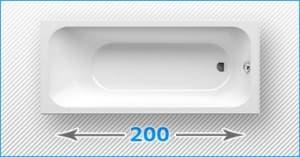 200 см прямоугольные акриловые ванны