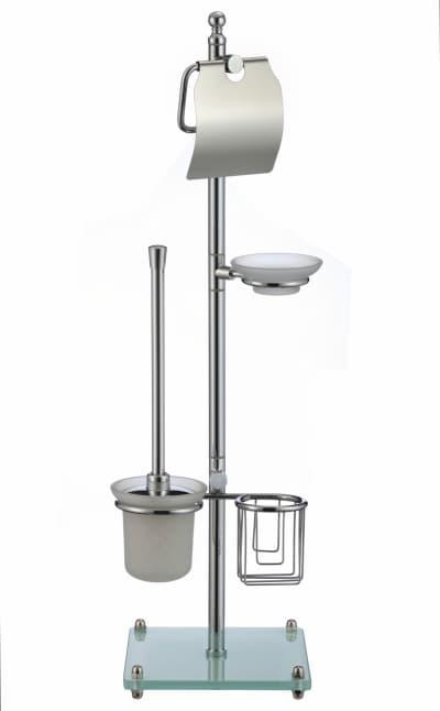многофункциональная стойка Savol напольная белый квадрат стеклянный (бумагодержатель с крышкой, подвесной ерш с держателем освежителя, мыльница) S-00A01