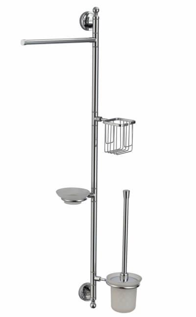 многофункциональная стойка Savol настенная латунная (газетница, держатель освежителя, мыльница, ерш) S-00C02