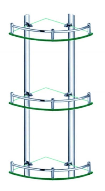 Полка стеклянная угловая, тройная, хромированная, латунная Savol S-003031