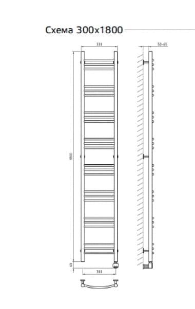 Электрический полотенцесушитель с функцией быстрой сушки ArtofSpace ARTICO EAAO3001800ChromeRP