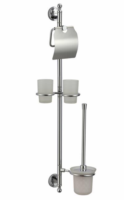 многофункциональная стойка Savol настенная латунная (бумагодержатель, двойной стакан, ерш) S-00C05