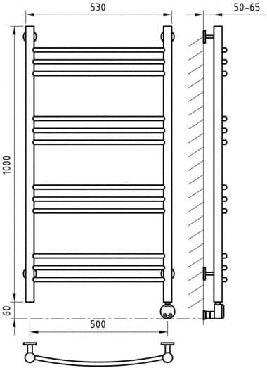 Электрический полотенцесушитель с функцией быстрой сушки ArtofSpace ARTICO EAAO5001000RAL9016RP