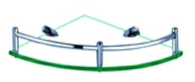 Полка стеклянная угловая, одинарная, хромированная, латунная Savol S-003011
