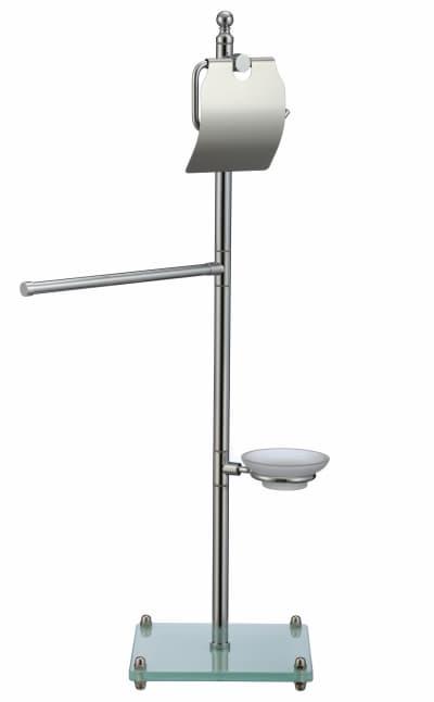 многофункциональная стойка Savol напольная белый квадрат стеклянный (бумагодержатель с крышкой, вешалка для газеты, мыльница стеклянная подвесная) S-00A04