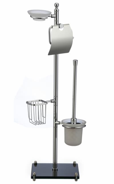 многофункциональная стойка Savol напольная черный квадрат стеклянный (бумагодержатель, мыльница, держатель освежителя, стеклянный подвесной ерш) S-00B01