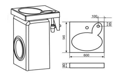Раковина над стиральной машиной VELVEX LEA 600