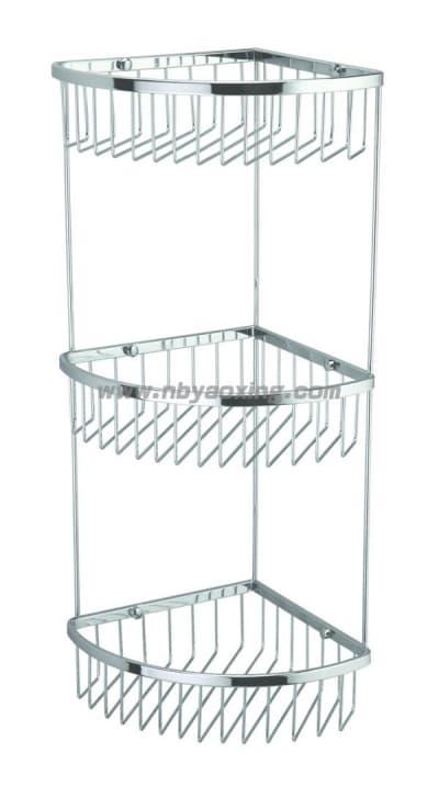 Полка решетка угловая, тройная, хромированная, нержавеющая Savol S-002514-3