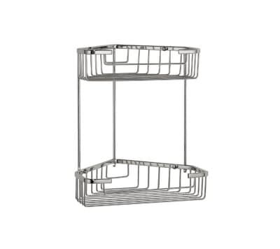 Полка решетка угловая, двойная, хромированная, нержавеющая Savol S-002832-2