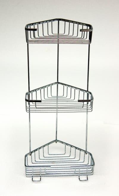 Полка решетка угловая, тройная, хромированная, нержавеющая Savol S-002832-3