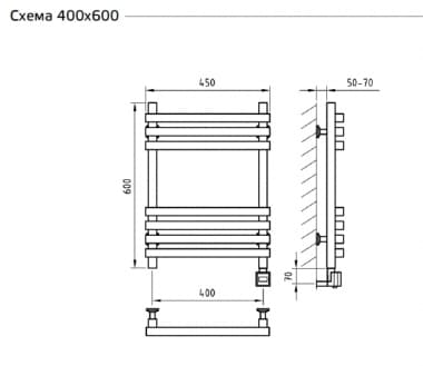 Электрический полотенцесушитель с функцией быстрой сушки скрытое подключение ArtofSpace CUBE EACE400600ChromeRS LS