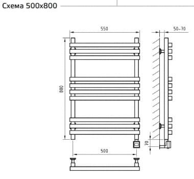 Электрический полотенцесушитель с функцией быстрой сушки скрытое подключение ArtofSpace CUBE EACE500800ChromeRS LS