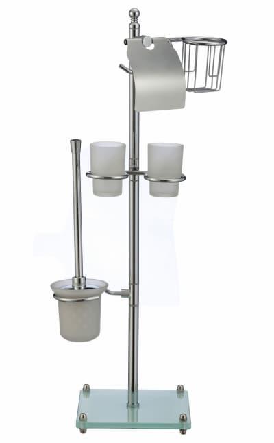 многофункциональная стойка Savol напольная белый квадрат стеклянный (бумагодержатель с держателем освежителя, двойной стакан, подвесной ерш) S-00A03