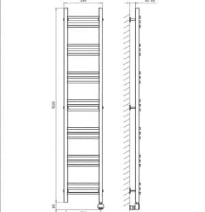 Электрический полотенцесушитель с функцией быстрой сушки скрытое подключение ArtofSpace ARTICO EAAO3001500ChromeRS
